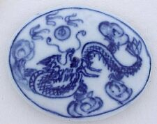 ONE Large Oval Dragon & Chinese Symbol Porcelain Bead 2 x 1 3/5 Inches PB2
