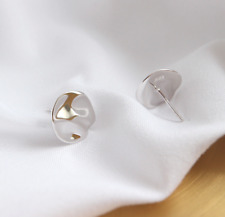 S925 Sterling Silver High Polished Wavy Round Irregular Disc Stud Earrings