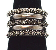 UNIQUE LOIS HILL .925 STERLING SILVER SET OF 5 STACKABLE RINGS SIZE 9.5, 21.3 g