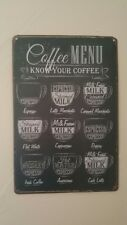 Vintage Coffee Menu Tin Sign Bar Pub Cafe Home Wall Decor Metal Art Posters LK3