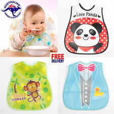 15 DESIGNS BABY BIBS WATERPROOF POCKET EASY CLEAN UP CRUMB CATCHER CUTE DESIGNS