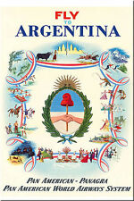Fridge magnet Vintage Travel Poster: Fly to Argentina Pan American