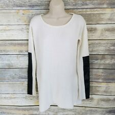 Oliviaceous Size S Sweater Ivory Scoop Neck Black Fauz Leather Sleeve Womens
