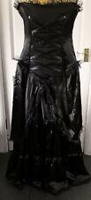 Steampunk/Goth Victorian Style Long Black Bodice Dress*Sz 16*BN*Golden Steampunk