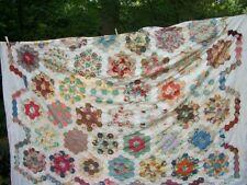 vintage grandmother flower garden cotton quilt top - pannello patchwork