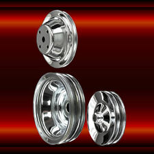 3 pulley set Small Block Chevy LWP with a/c and press on power steering chrome