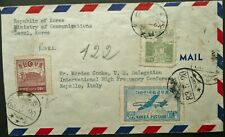 SOUTH KOREA 1940's AIRMAIL POSTAL COVER FROM SEOUL TO RAPALLO, ITALY - SEE!