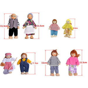 Wooden Furniture Dolls House Family Miniature 7 People Doll Toy For Kid Gifts US
