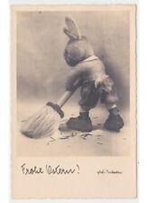coniglio peluche foto cartolina pasquale d'epoca Ostern Phot. Imboden