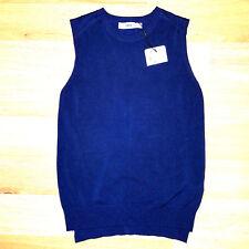new ZARA knit women vest sweater navy blue S MSRP $69