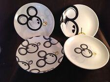 *Rare* Adult Mickey Mouse Martini Olive Set of 4 Different Cocktail Plates C4 A