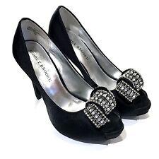 Audrey Brooke Black Satin Heels Size 7.5 Jeweled Rhinestone Pumps Evening Party