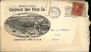1908 Cincinnati Ohio (OH) Letter Cover with stamp Cincinnati Iron Fence Co. Wm.