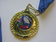 Oz Tag / Touch Footy Medal Gold with Blue Ribbon, Engraved FREE
