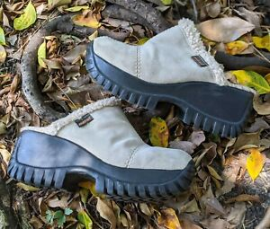 Vintage Y2k Rocket Dog Chunky Platform Tan Suede Leather Mule Slides Shoes 7.5