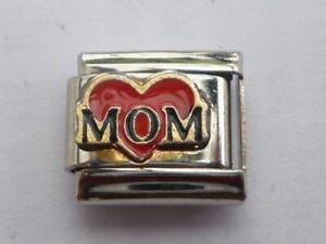 RED HEART MOM MUM SILVER ITALIAN CHARM  fits all makes of Italian bracelet N12