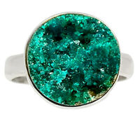 Dioptase Crystal 925 Sterling Silver Jewelry Ring s.6.5 BR12336 XGB