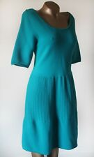 Dress Coast Size UK 16 Skater Soft Knitted Knee Length Aqua Green Flawless