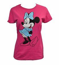 Women's Juniors Disney Blue White Polka Dot Bow Dress Minnie T-Shirt Fuchsia