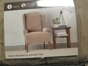 Stretch Twill Wing Chair Slipcover Beach House Tan - Sure Fit Ribbed