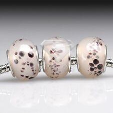 5/10pcs Murano Glass Charm Beads Lampwork Fit European Bracelet DIY 14x14x10mm