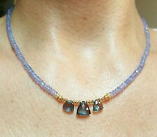 Genuine Tanzanite trillion faceted London Blue Topaz solid 14k gold necklace