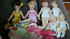 3 Vintage Paper Dolls With Hair & Adorable Child Family