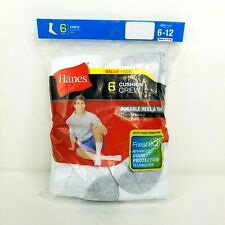 Hanes Mens 6 Pair Cushion Crew Socks White 6-12