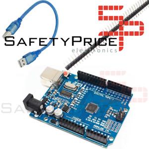 Placa UNO R3 ATmega328p CH340G 100% Compatible con Arduino + pines SMD con Cable