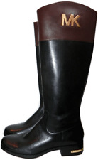 MICHAEL KORS  Hayley Gold MK Black Leather Flat Riding Boot Riding Bootie 7- 37