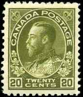 Canada #119c mint VF OG HR 1912 King George V 20c dark olive green Admiral Wet
