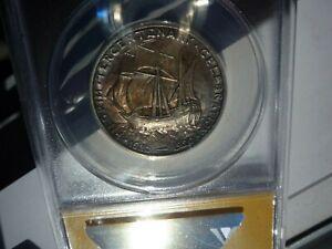 1920(RARE)(TONED)(UNDERGRADED)(ANACS) PILGRIM TERCEN SILVER 1/2 $ COMM- A BEAUTY