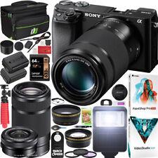 Sony a6100 Mirrorless Camera 4K APS-C ILCE-6100YB 2 Lens 16-50mm 55-210mm Bundle