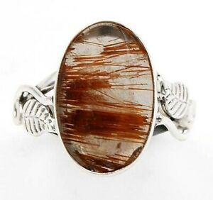 Natural Golden Rutilated Quartz 925 Sterling Silver Ring Jewelry Sz 6.5 ED21-1
