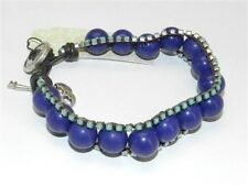 Fossil Bead Bracelet Holiday Glam Triple Row Blue Beads Button Clasp New! NWT