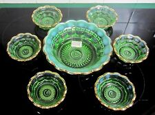 EAPG NORTHWOOD Regal Emerald Green Opalescent 7 Piece Berry Bowl Set