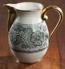 Le Tallec Pitcher Black Gold France Porcelain Signed Hand Painted Marcel Rochas