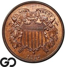 1867 Two Cent Piece, Sharp BU++ Collector Copper Coin