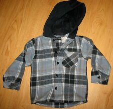 TAD LITTLE - NEW BLUE Plaid Flannel Button Front Hoodie Shirt -18  MONTHS