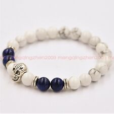 Fashion Natural White Turquoise Lapis Lazuli Bead 8 Mm Skull Lucky Man Bracelet