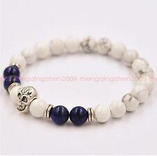 Fashion natural white turquoise lapis lazuli bead 8 mm skull lucky man bracelet