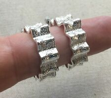 "Textured Silver-Tone Steampunk Retro 1"" Hoop Star Wave Earrings Ridged Ribbons"