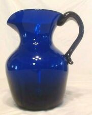 "VINTAGE BLOWN COBALT BLUE GLASS PITCHER 9"" TALL, 9 CUPS, MINT"