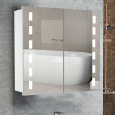LED Lighted Bathroom Mirror Cabinet Bluetooth Music Sensor Shaver Socket Demster