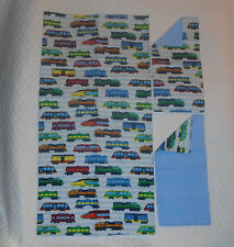 Homemade Multi-color Trains Design Receiving Blanket/Burp Cloths-Boys