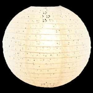 Luna Bazaar Eyelet Paper Lantern Decoration, Clip-On Lamp Shade (8-Inch, White)