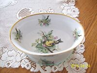 Andrea By Sadek Made In Japan Oblong Porcelain Bowl Hand Painted Bird Pattern