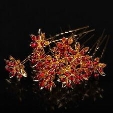 12 Pcs Gold Flower Red Crystal Bridal Wedding Prom Hair Pins Hair Clip 965