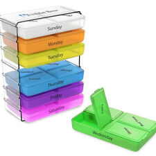 Daily Pill Organizer- 7 Day Weekly Compact Prescription and Vitamin Organizers