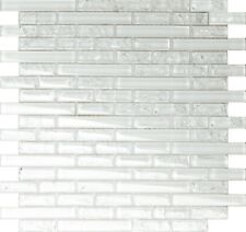 1 SQ M Clear Crackle and Plain Glass Mosaic Wall Tile Sheet 0140